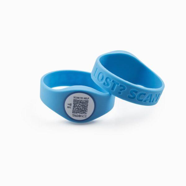 SOS-armband blauw voor- en achterkant