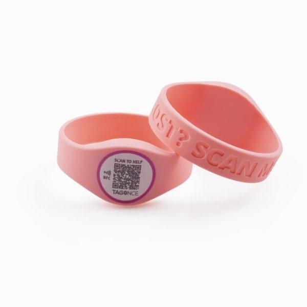 SOS-armband roze voor- en achterkant