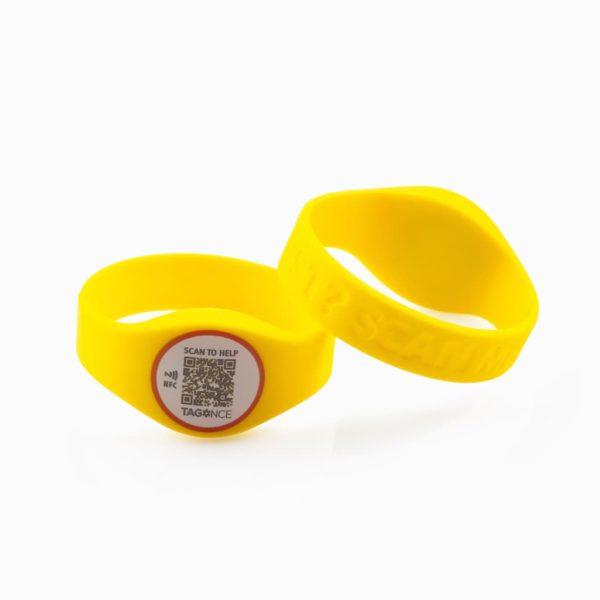 SOS-armband geel voor- en achterkant