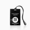 Zwart bagagelabel - creditcard voorkant met touwtje